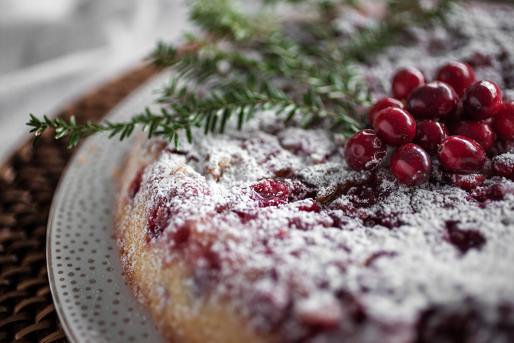 Detail of a holiday Cranberry Tart. Adding some nature really made it come to life.