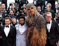 Alden Ehrenreich, Donald Glover, Chewbacca, actor Paul Bettany, at the Solo: A Star Wars Story gala screening at the 71st Cannes Film Festival, Tuesday 15th May 2018, Cannes, France. Photo credit: Doreen Kennedy