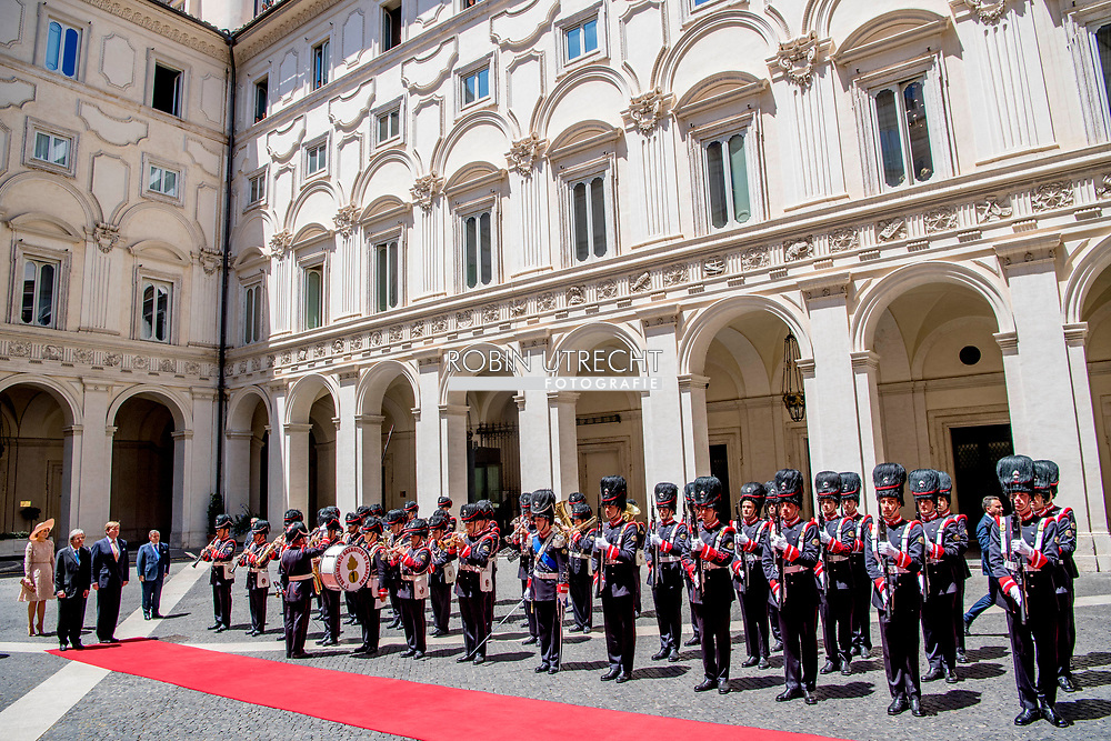 20-6-2017 ROME - King William Alexander and Queen Maxima in the courtyard.<br /> Greetings by Mr. P. Grasso, President of the Senate with Spouse Conversation with Senate President<br /> &nbsp; . 4-day state visit of King Willem-Alexander and Queen Maxima and Republic of Italy and Holy See in Vatican City. COPYRIGHT ROBIN UTRECHT<br /> <br /> 20-6- 2017 ROME - Koning Willem-Alexander en Koningin Maxima Lunch met minister-president P. Gentiloni, in Palazzo Chigi