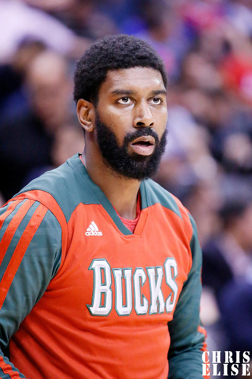 24 March 2014: Milwaukee Bucks guard O.J. Mayo (00) warms up prior to the Los Angeles Clippers 106-98 victory over the Milwaukee Bucks at the Staples Center, Los Angeles, California, USA.