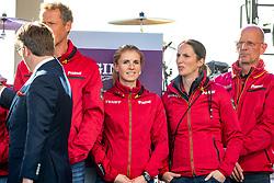 Team Deutschland, VON BREDOW-WERNDL Jessica (GER), BLUM Simone (GER), RÖSER Klaus (Equipechef)<br /> Rotterdam - Europameisterschaft Dressur, Springen und Para-Dressur 2019<br /> Eröffnungsfeier<br /> Opening ceremonie<br /> 19. August 2019<br /> © www.sportfotos-lafrentz.de/Stefan Lafrentz