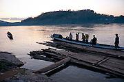 Mekong River dock in Luang Prabang, Laos.