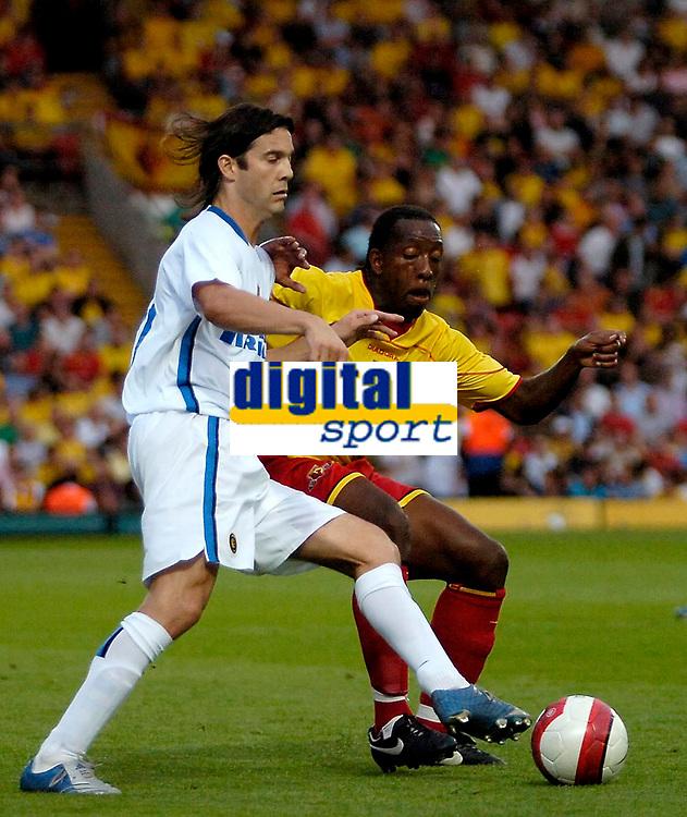Photo: Ed Godden.<br /> Watford v Inter Milan. Pre Season Friendly. 08/08/2006.<br /> Santiago Solari (R) and Watford's Lloyd Doyley, tussle for the ball.