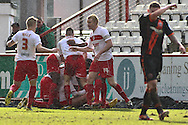 Picture by David Horn/Focus Images Ltd +44 7545 970036.16/03/2013.the opening goal during the npower League 1 match at the Lamex Stadium, Stevenage.