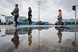 THEMENBILD - Passanten gehen auf Regennasser Fahrbahn nach nächtlichem Stark-Regen am 26. Juli 2015 in Zagreb, Kroatien // Wet roads in the town after heavy rain during night. Zagreb, Croatia on 2015/07/26. EXPA Pictures © 2015, PhotoCredit: EXPA/ Pixsell/ Davor Puklavec<br /> <br /> *****ATTENTION - for AUT, SLO, SUI, SWE, ITA, FRA only****