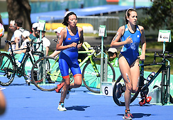 BUENOS AIRES, Oct. 8, 2018  Yu Xinying (L) of China competes during the Women's Triathlon match at the 2018 Summer Youth Olympic Games in Buenos Aires, capital of Argentina, Oct. 7, 2018. Yu Xinying ranked the 20th with 1 hour 2 minutes 49 seconds. (Credit Image: © Li Jundong/Xinhua via ZUMA Wire)
