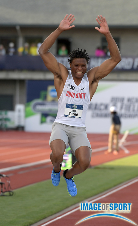 Jun 6, 2018; Eugene, OR, USA; Zack  Bazile of Ohio State wins the long jump at 27-5 1/2 (8.37m) during the NCAA Track and Field championships at Hayward Field.