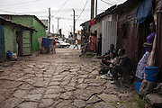View of a small street where commercial sex workers wait for clients. Many girls involved in prostitution are forced to change the area, change shacks, because of the threats and problems with customers..<br /> <br /> Addis Ababa, Ethiopia, 09-03-2013.<br /> <br /> To protect the identities of the recorded subjects names are omitted