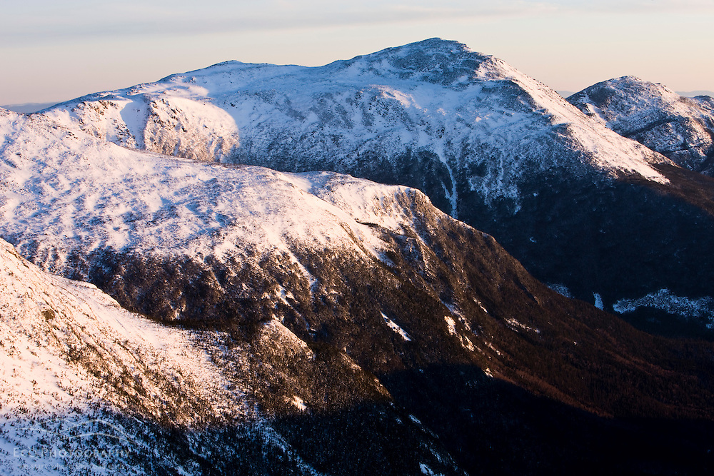 Winter in New Hampshire's White Mountains.  Mount Adams and Mount Madison in the Northern Presidential Range.  Great Gulf Wilderness.  From Gulfside Trail below Mount Washington.
