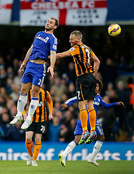 Branislav Ivanovic of Chelsea and David Meyler of Hull City compete in the air - Photo mandatory by-line: Rogan Thomson/JMP - 07966 386802 - 13/12/2014 - SPORT - FOOTBALL - London, England - Stamford Bridge - Chelsea v Hull City - Barclays Premier League.