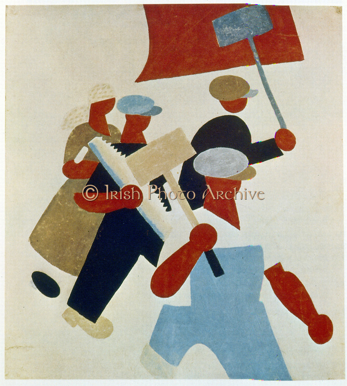 The Demonstration. Workers march. Poster. Soviet Russia, 1920.