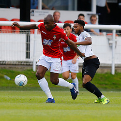 AUGUST 12:  Dover Athletic against Wrexham in Conference Premier at Crabble Stadium in Dover, England. Wrexham's defender Manny Smith keeps Dover's forward Kane Richards from the ball. (Photo by Matt Bristow/mattbristow.net)