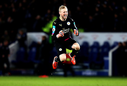 Kasper Schmeichel of Leicester City celebrates Jamie Vardy scoring a goal to make it 3-0 - Mandatory by-line: Robbie Stephenson/JMP - 27/02/2017 - FOOTBALL - King Power Stadium - Leicester, England - Leicester City v Liverpool - Premier League
