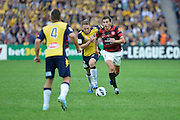 21.04.2013 Sydney, Australia. Wanderers Croatian midfielder Mateo Poljak in action during the Hyundai A League grand final game between Western Sydney Wanderers FC and Central Coast Mariners FC from the Allianz Stadium.Central Coast Mariners won 2-0.
