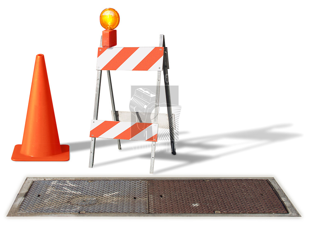 construction cone & barrier on white