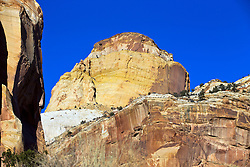 The Golden Throne sandstone rock formation viewed from Capitol Gorge, Capitol Reef National Park, Utah, United States of America