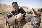 Boy with his donkey near Torpok Lake, Kyrgyzstan
