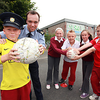 Danny Harty with communtiy garda Diramuid O' Brien, Charlotte Finnegan, Gary Cusack, Saoirse Bowe and Alan McInerney getting ready for the 'Futsal' soccer programme in Shannon from July 2nd - August 6th.<br /> Photograph by Yvonne Vaughan