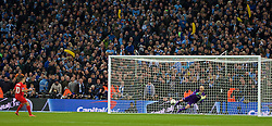 LONDON, ENGLAND - Sunday, February 28, 2016: Manchester City's goalkeeper Willy Caballero saves a penalty from Philippe Coutinho Correia during the shoot-out during the Football League Cup Final match at Wembley Stadium. (Pic by David Rawcliffe/Propaganda)