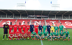 LIVERPOOL, ENGLAND - Tuesday, September 16, 2014: Liverpool and PFC Ludogorets Razgrad players before the UEFA Youth League Group B match at Langtree Park. (Pic by David Rawcliffe/Propaganda)