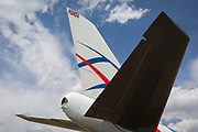 The tail of a British Cargologic 747 at the Farnborough Airshow, on 16th July 2018, in Farnborough, England. Launched in 2015, CargoLogicAir is the United Kingdom's only maindeck freighter airline. Headquartered close to London Heathrow Airport and with our main operating base at London Stansted Airport, we connect British companies with prime export markets in Europe, North America, the Middle East and Asia Pacific. CargoLogicAir's growing fleet of modern Boeing 747 freighters includes the new generation 747-8F with its increased payload of 139 tonnes. (Photo by Richard Baker / In Pictures via Getty Images)