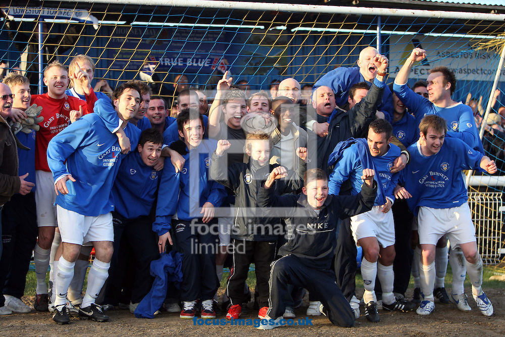 Canvey Island - Saturday, March 1st, 2008:  Lowestoft players and fans celebrate their victory over Concord at the Thames Road Ground, Canvey Island. (Pic by Paul Chesterton/Focus Images)