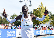 Eliud Kipchoge (KEN) poses after winning the 45th Berlin Marathon in a world best 2:01.39 in Berlin, Germany, Sunday, Sept. 16, 2018.. Kipchoge  broke the previous record by 1:18 set in 2014  by Dennis Kimetto. It is the largest single improvement on the marathon world record since Derek Clayton improved the mark by 2:23 in 1967. (Jiro Mochizuki/Image of Sport)