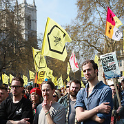 Parliament Square.For up to ten days Extinction Rebellion activists occupied Waterloo Bridge, Parliament Square, Oxford Circus and Marble Arch disrupting traffic and 'normal life'. More than a thousand people were arrested before the police finally cleared the street and the International Rebellion was called to halt by the activists.  The environmental protest group Extinction Rebellion has called for civil disobedience and peaceful protest to force the British government to take drastic action on climate change. The group wants the government to tell the truth and admit that the impact of climate change is much more severe than they say and that action to mitigate catastrophic climate change is urgent.