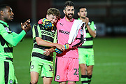 Forest Green Rovers Jordan Stevens(35) Forest Green Rovers goalkeeper Sam Russell(23) during the EFL Trophy match between Cheltenham Town and Forest Green Rovers at Whaddon Road, Cheltenham, England on 3 October 2017. Photo by Shane Healey.