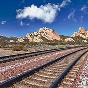 Mormon Rocks - Light Snow Covered Railway - HDR
