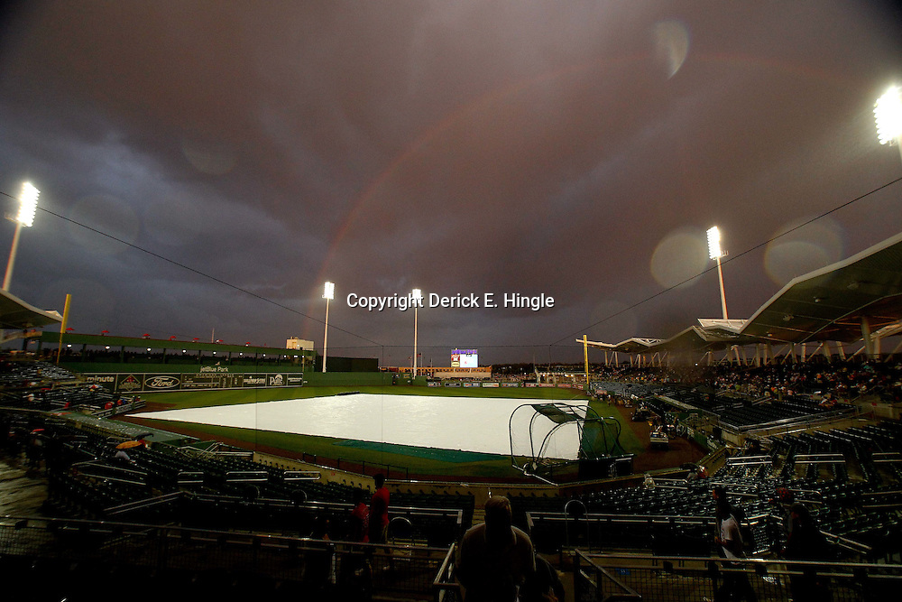 March 9, 2011; Ft. Myers, FL, USA; A general view of a rainbow during a rain delay before a a spring training game between the Boston Red Sox and the Pittsburgh Pirates at Jet Blue Park. Mandatory Credit: Derick E. Hingle-US PRESSWIRE