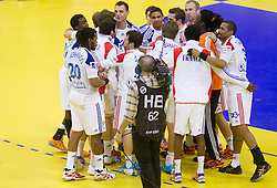 Players of France  after the handball match between France and Iceland in  Main Round of 10th EHF European Handball Championship Serbia 2012, on January 25, 2012 in Spens Hall, Novi Sad, Serbia. (Photo By Vid Ponikvar / Sportida.com)