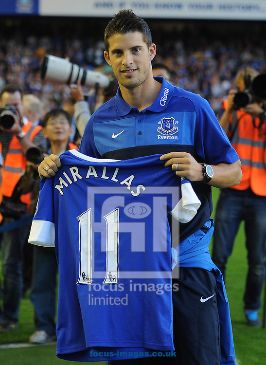Picture by Andrew Timms/Focus Images Ltd +44 7917 236526.20/08/2012.Everton new signing Kevin Mirallas during the Barclays Premier League match against Manchester United at Goodison Park, Liverpool.