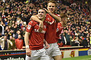 Barnsley Midfielder, Ryan Kent (40) ands Barnsley Midfielder, Marley Watkins (15) celebrate during the EFL Sky Bet Championship match between Barnsley and Leeds United at Oakwell, Barnsley, England on 21 January 2017. Photo by Mark Pollitt.