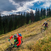 Andrew Whiteford, Mike Wieser, Kyle Dowman, Jake Hawkes, Rob LaPier, and Aaron G decend through the first section of Fuzzy Bunny off of Teton Pass near Wilson, Wyoming.