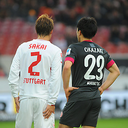 25.01.2014, Mercedes Benz Arena, Stuttgart, GER, 1. FBL, VfB Stuttgart vs 1. FSV Mainz 05, 18. Runde, im Bild vl : Die beiden Japaner Gotuku Sakei (VfB Stuttgart), Shinji Okazaki (FSV Mainz 05) spielten, der letzten Saison noch gemeinsam beim VfB Stuttgart // during the German Bundesliga 18th round match between VfB Stuttgart and 1. FSV Mainz 05 at the Mercedes Benz Arena in Stuttgart, Germany on 2014/01/25. EXPA Pictures © 2014, PhotoCredit: EXPA/ Eibner-Pressefoto/ Stuetzle<br /> <br /> *****ATTENTION - OUT of GER*****