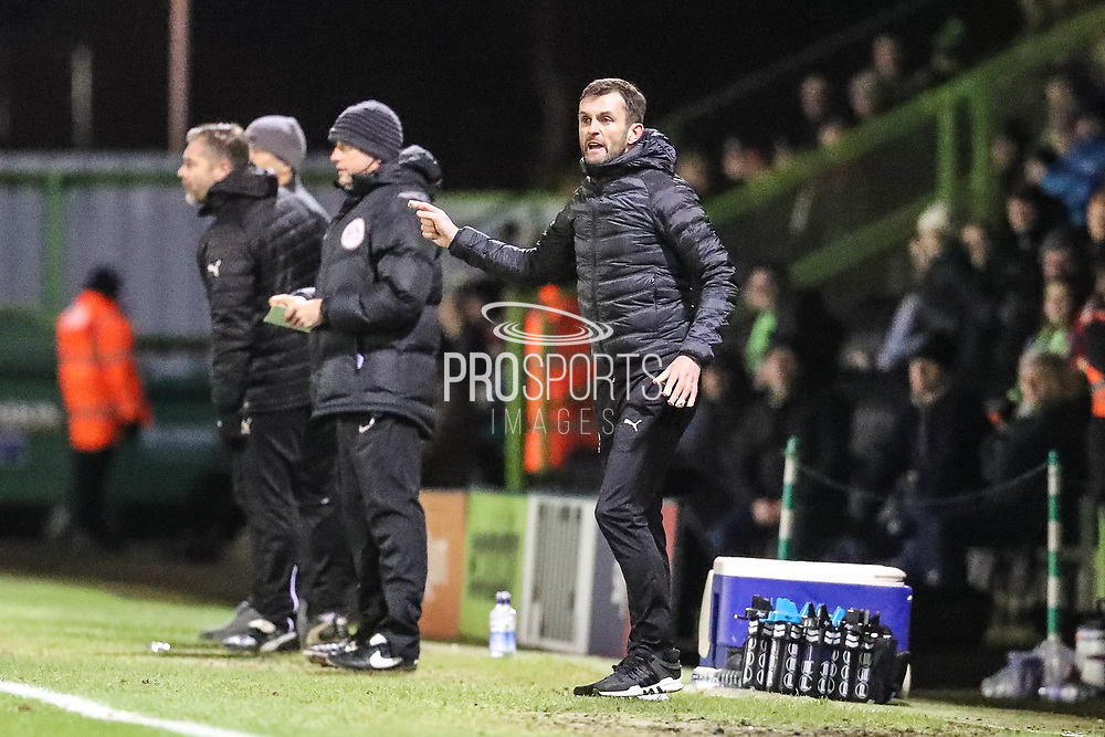 Luton Town manager Nathan Jones during the EFL Sky Bet League 2 match between Forest Green Rovers and Luton Town at the New Lawn, Forest Green, United Kingdom on 16 December 2017. Photo by Shane Healey.