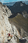 Spanish Rab Team during a climbing activity in Collado Jermoso, Picos de Europa National Park, Spain.