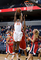 Virginia center Aisha Mohammed (33) goes up for a shot.  The Virginia Cavaliers women's basketball team faced the Richmond Spiders at the John Paul Jones Arena in Charlottesville, VA on November 18, 2007.