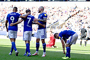 Ipswich Town midfielder Gwion Edwards celebrates his goal  with team-mates during the EFL Sky Bet League 1 match between Bolton Wanderers and Ipswich Town at the University of  Bolton Stadium, Bolton, England on 24 August 2019.