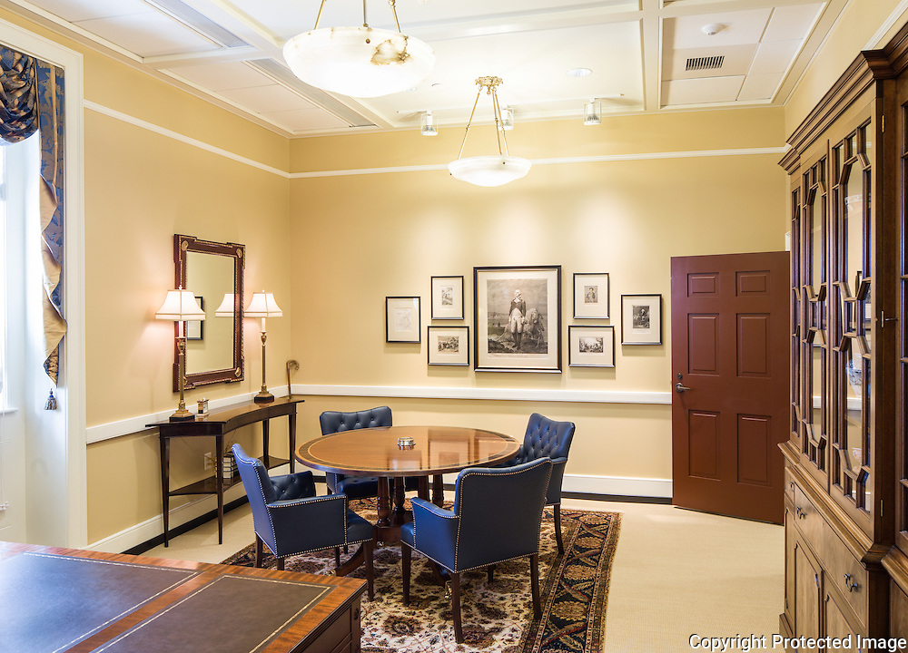 As part of the rehabilitation of Washington Hall, the President's suite was completely gutted and rebuilt. Most of the furnishings and art work were also reconsidered as part of the design work.