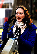 Leighton Meester appears on the set as Gossip Girls tapes in Lincoln Center in New York City on December 1, 2009.