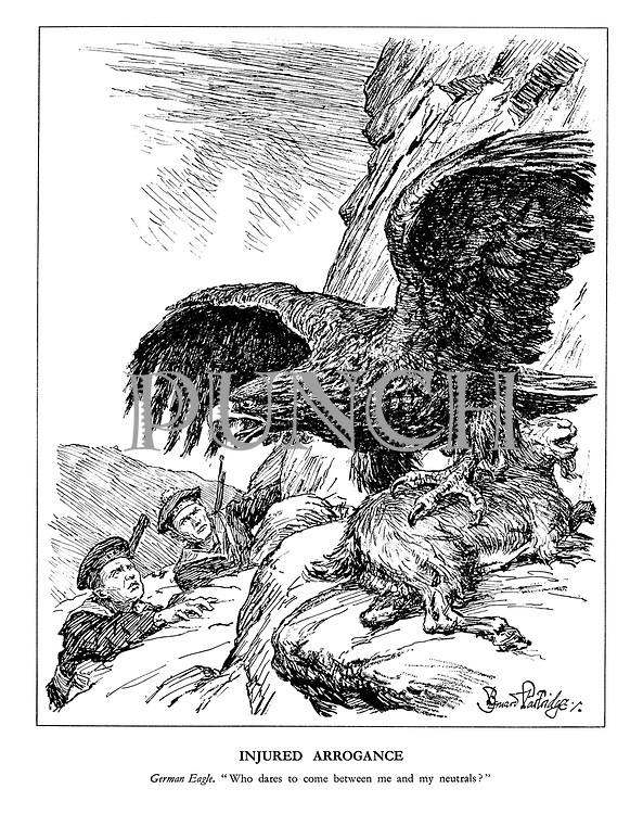 "Injured Arrogance. German Eagle. ""Who dares to come between me and my neutrals?"" (the German eagle ontop of a mountain goat as British and French sailors climb up to attempt a rescue in Norway)"