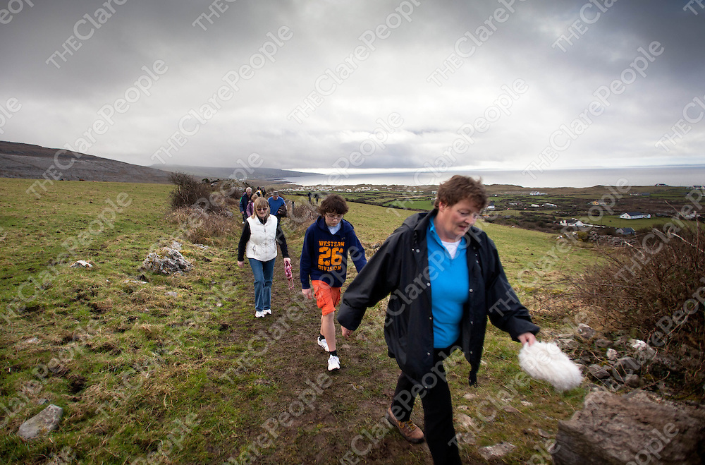 12.02.12.<br /> Walkers make their way through the BUrren Co. Clare during the Clare Branch of the Alzheimers Society of Ireland's annual fundraising 10 KM Burren Walk, Co. Clare. Picture: Alan Place/Press 22.