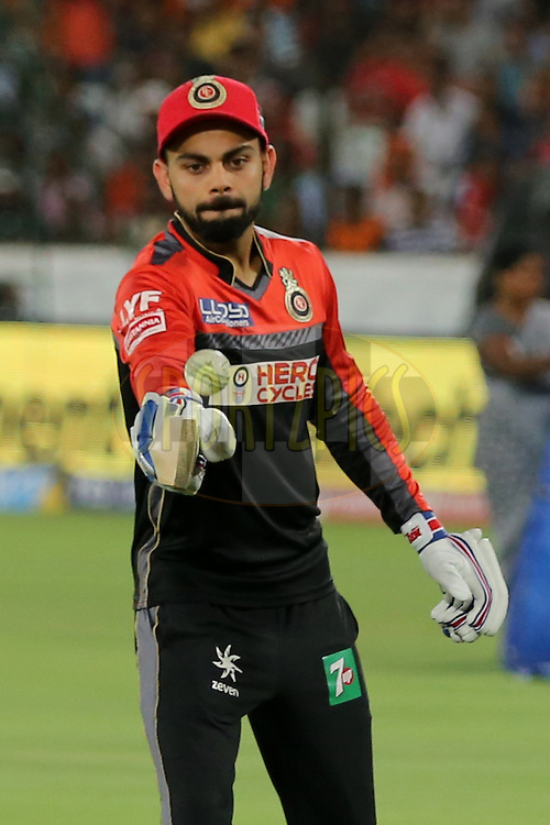 Royal Challengers Bangalore skipper Virat Kholi during match 27 of the Vivo IPL 2016 (Indian Premier League ) between the Sunrisers Hyderabad and the Royal Challengers Bangalore held at the Rajiv Gandhi Intl. Cricket Stadium, Hyderabad on the 30th April 2016<br /> <br /> Photo by Faheem Hussain / IPL/ SPORTZPICS