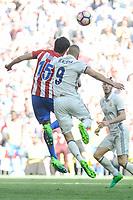 Real Madrid's Karim Benzema and Atletico de Madrid's Stefan Savic during La Liga match between Real Madrid and Atletico de Madrid at Santiago Bernabeu Stadium in Madrid, April 08, 2017. Spain.<br /> (ALTERPHOTOS/BorjaB.Hojas)