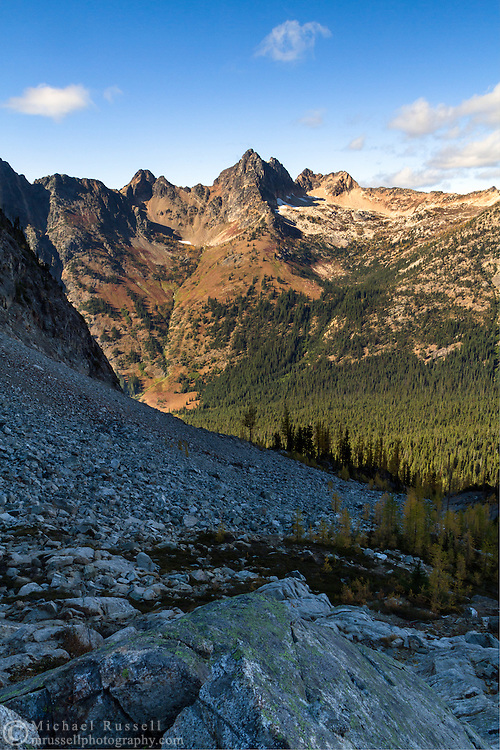 Cutthroat Peak from above Blue Lake in the North Cascades of the Okanogan-Wenatchee National Forest in Washington State, USA
