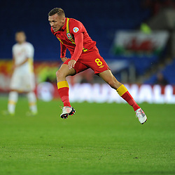 Craig Bellamy of Wales in the air watches his shoot miss the target. - Photo mandatory by-line: Alex James/JMP - Tel: Mobile: 07966 386802 11/10/2013 - SPORT - FOOTBALL - INTERNATIONAL - Cardiff - Wales V Macedonia - WORLD CUP 2014 QUALIFYING - GROUP A