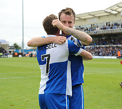 Bristol Rovers' Chris Lines and Bristol Rovers' Lee Mansell celebrate after the final whistle. - Photo mandatory by-line: Nizaam Jones /JMP - Mobile: 07966 386802 - 03/05/2015 - SPORT - Football - Bristol - Memorial Stadium - Bristol Rovers v Forest Green Rovers - Vanarama Football Conference.