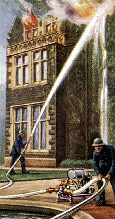 Air Raid Precautions': Set of 50 cards issued by WD & H0 Wills, Britain 1938, in preparation for the anticipated coming of World War II.  Light trailer fire pump in action drawing water from pond to fight house fire.